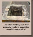 The open chimney was then prepared ready to accept the new chimney terminal.